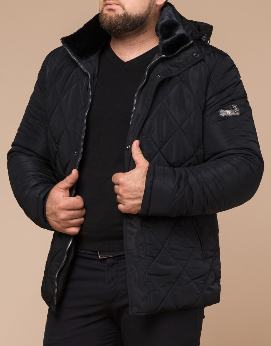 Мужская куртка зимняя цвет черный модель 19121 оптом фото 2