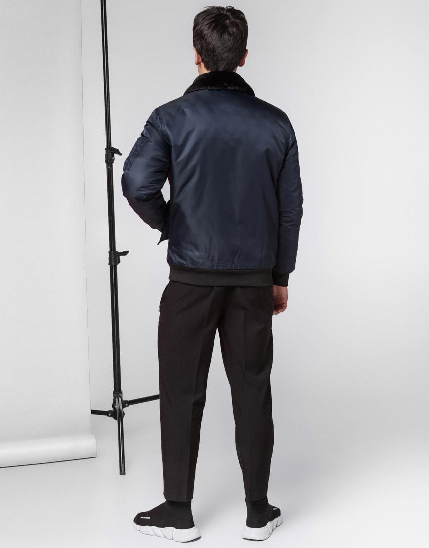 Куртка бомбер стильная темно-синяя модель 52121 фото 4