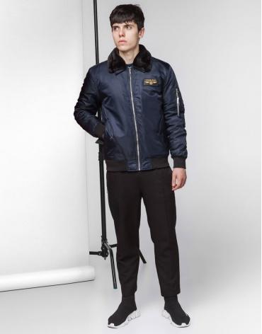 Куртка бомбер стильная темно-синяя модель 52121 фото 1