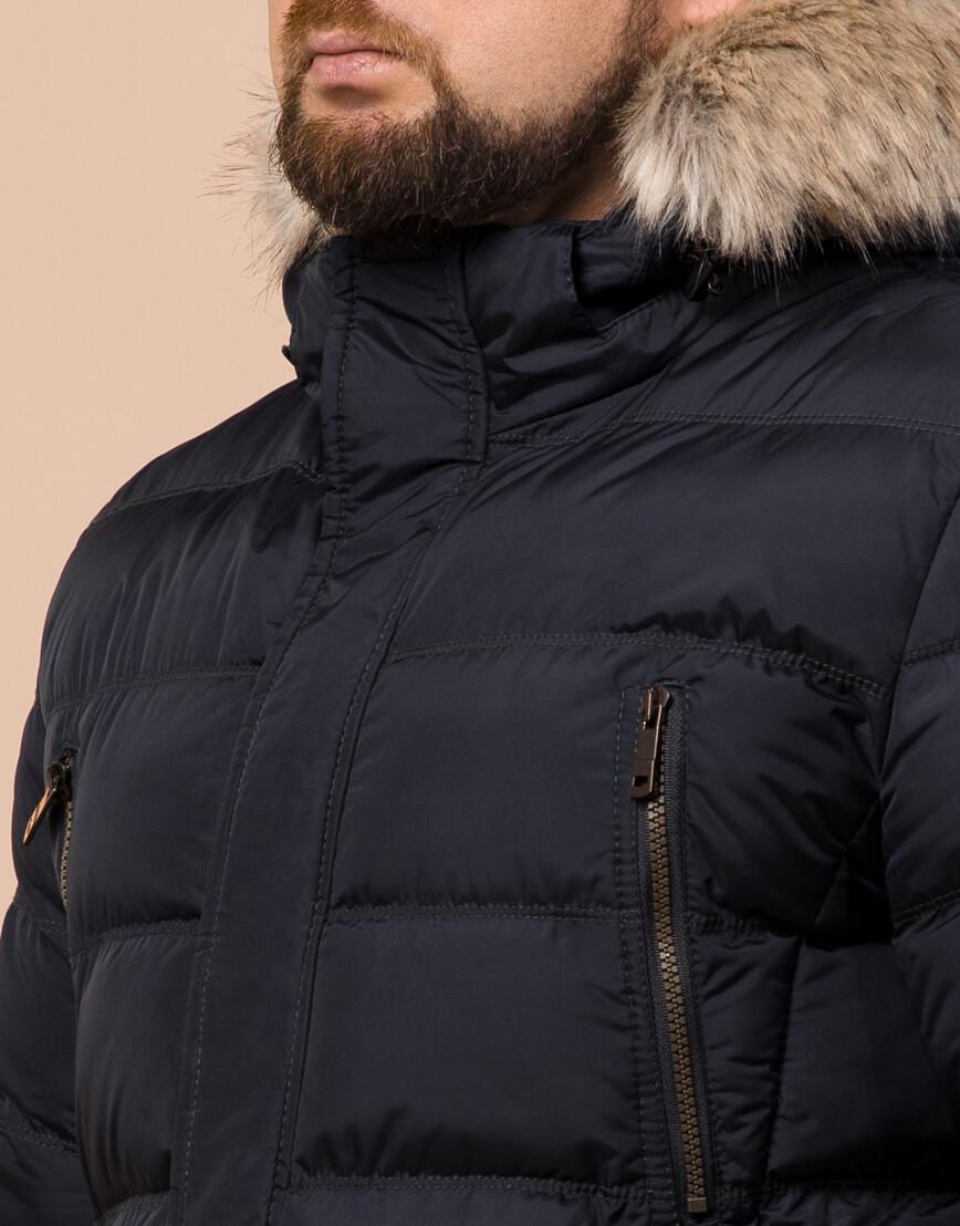 Зимняя мужская темно-синяя куртка большого размера модель 23752 оптом фото 4