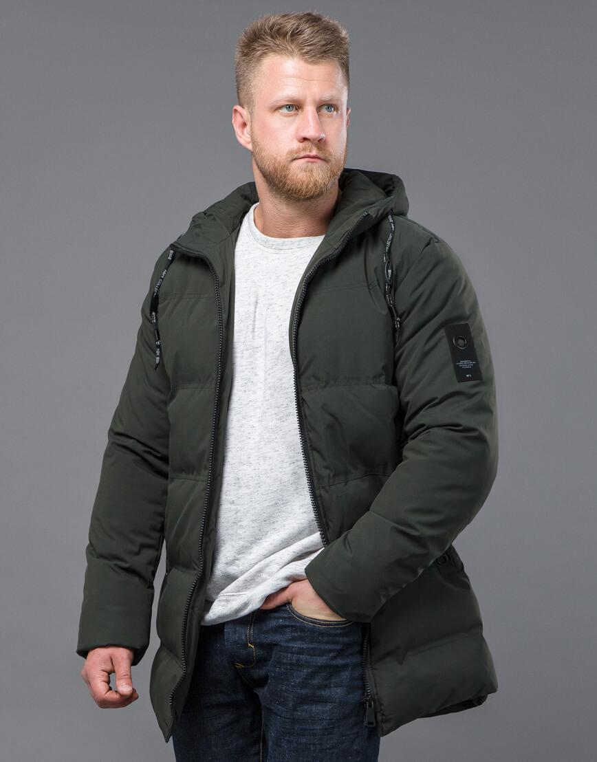 Качественная зимняя куртка темно-зеленого цвета модель 70911 фото 2