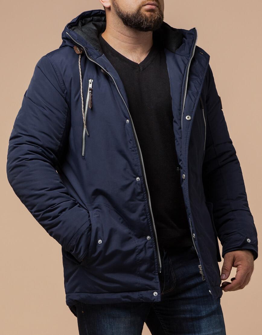 Зимняя мужская синяя парка модель 43015 оптом