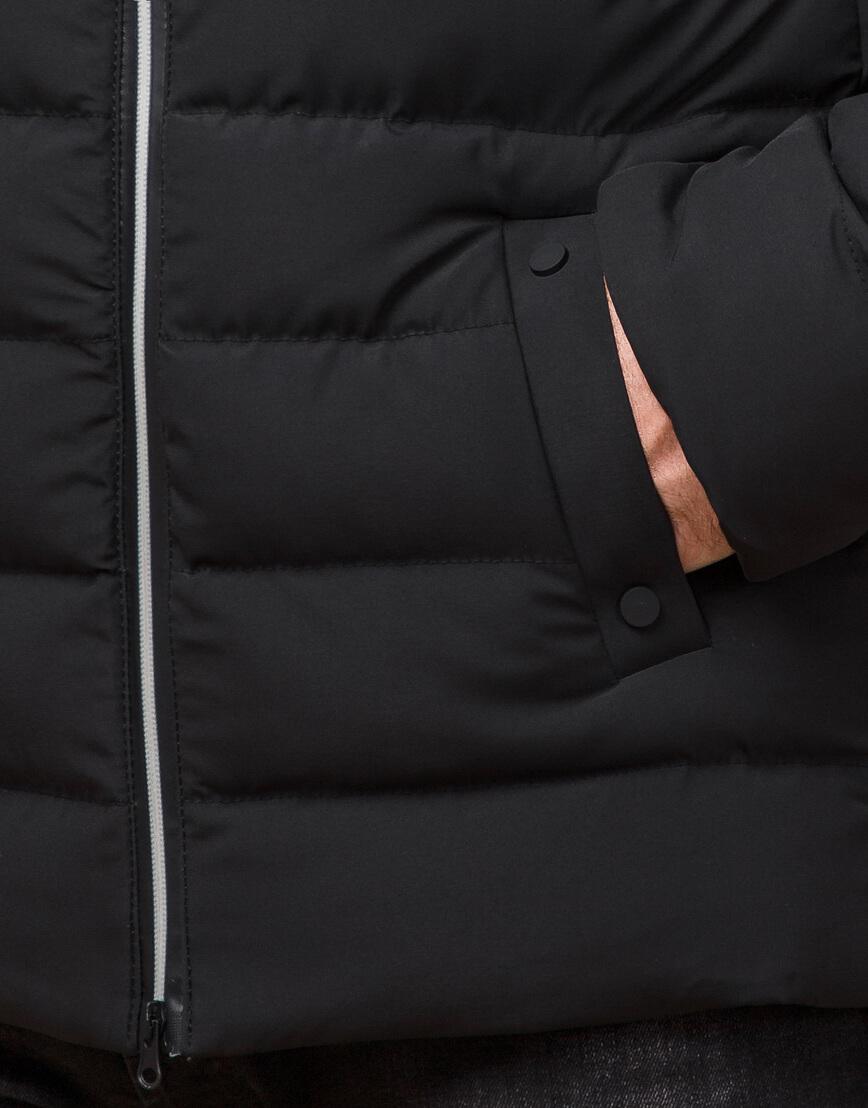 Стильная мужская куртка цвет черный-серебро модель 45115 фото 5