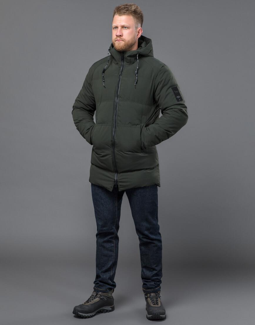 Качественная зимняя куртка темно-зеленого цвета модель 70911 фото 1