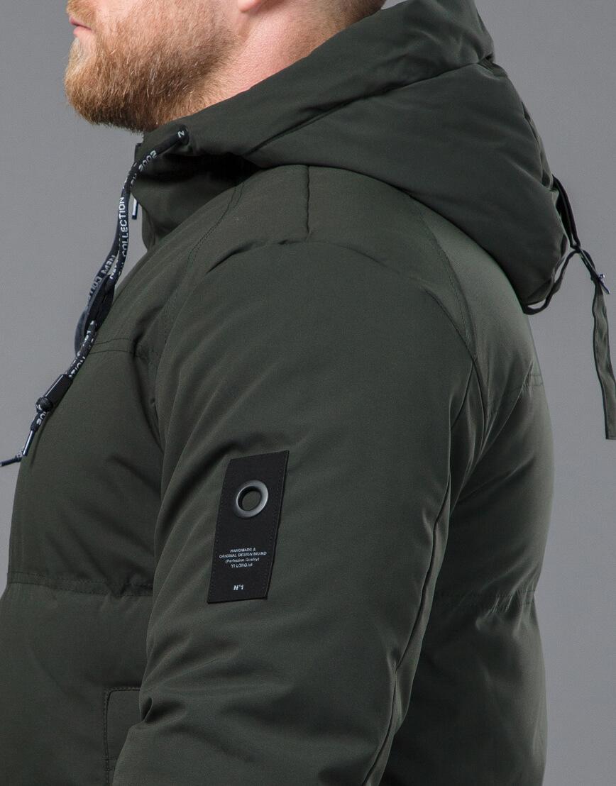 Качественная зимняя куртка темно-зеленого цвета модель 70911 фото 7