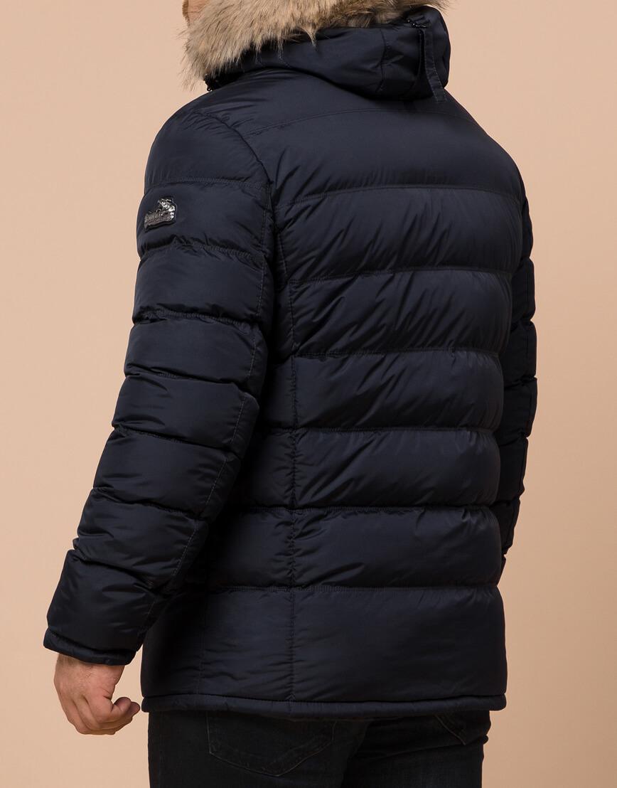 Зимняя мужская темно-синяя куртка большого размера модель 23752 оптом фото 3
