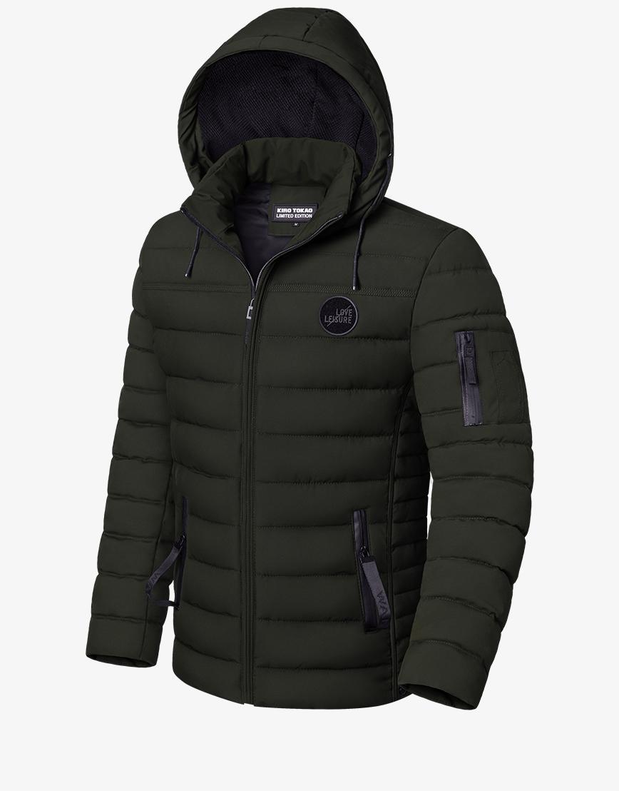 Куртка модная темно-зеленая зимняя модель 8807  фото 1