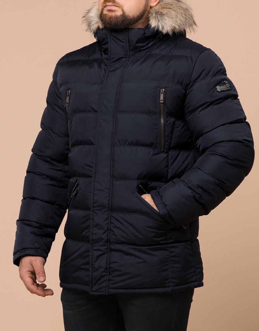 Зимняя мужская темно-синяя куртка большого размера модель 23752 оптом фото 2