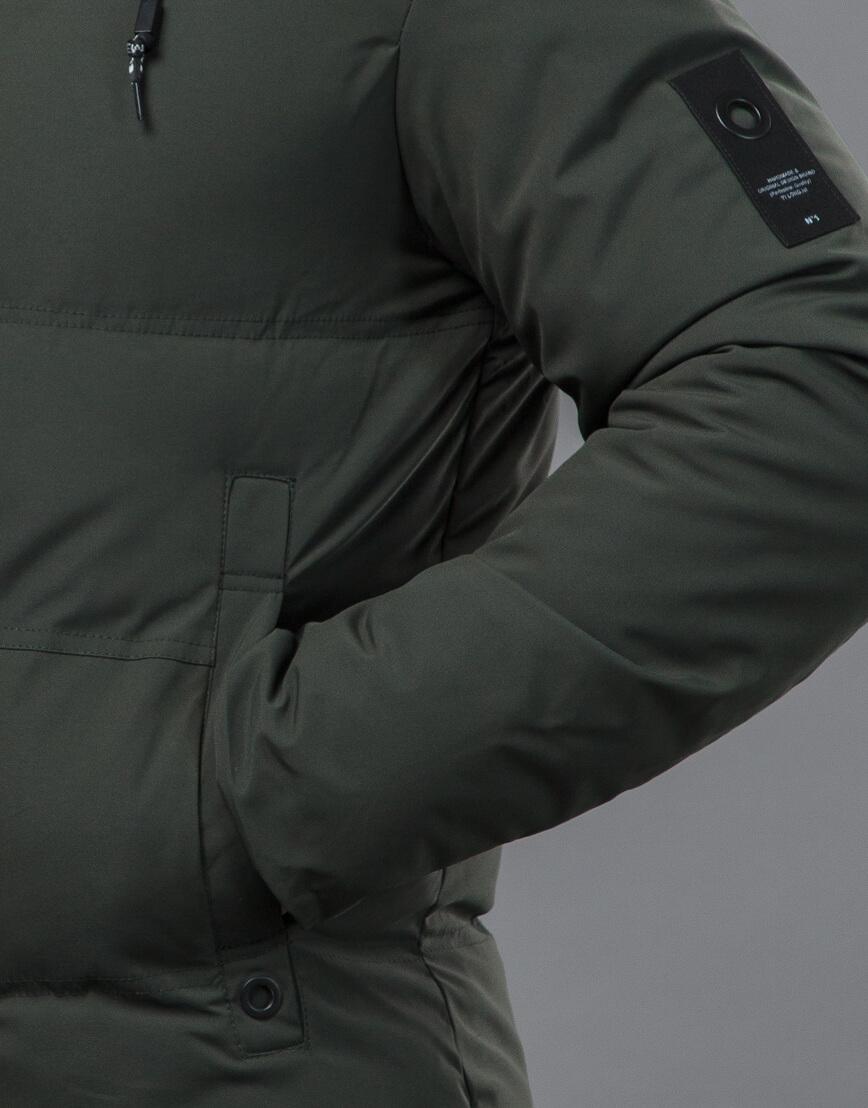 Качественная зимняя куртка темно-зеленого цвета модель 70911 фото 6