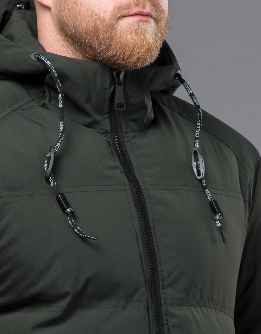 Качественная зимняя куртка темно-зеленого цвета модель 70911 фото 5