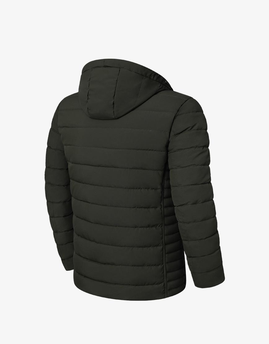 Куртка модная темно-зеленая зимняя модель 8807  фото 2