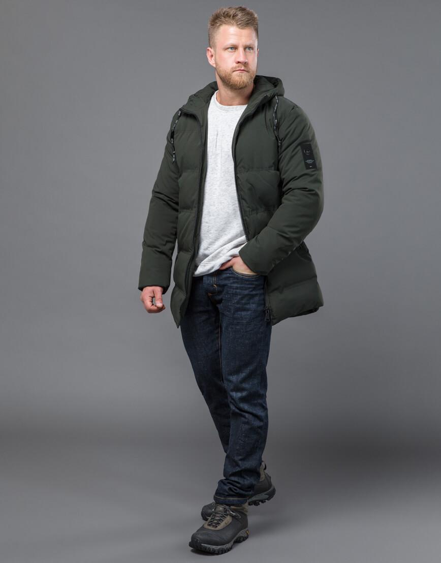 Качественная зимняя куртка темно-зеленого цвета модель 70911 фото 3