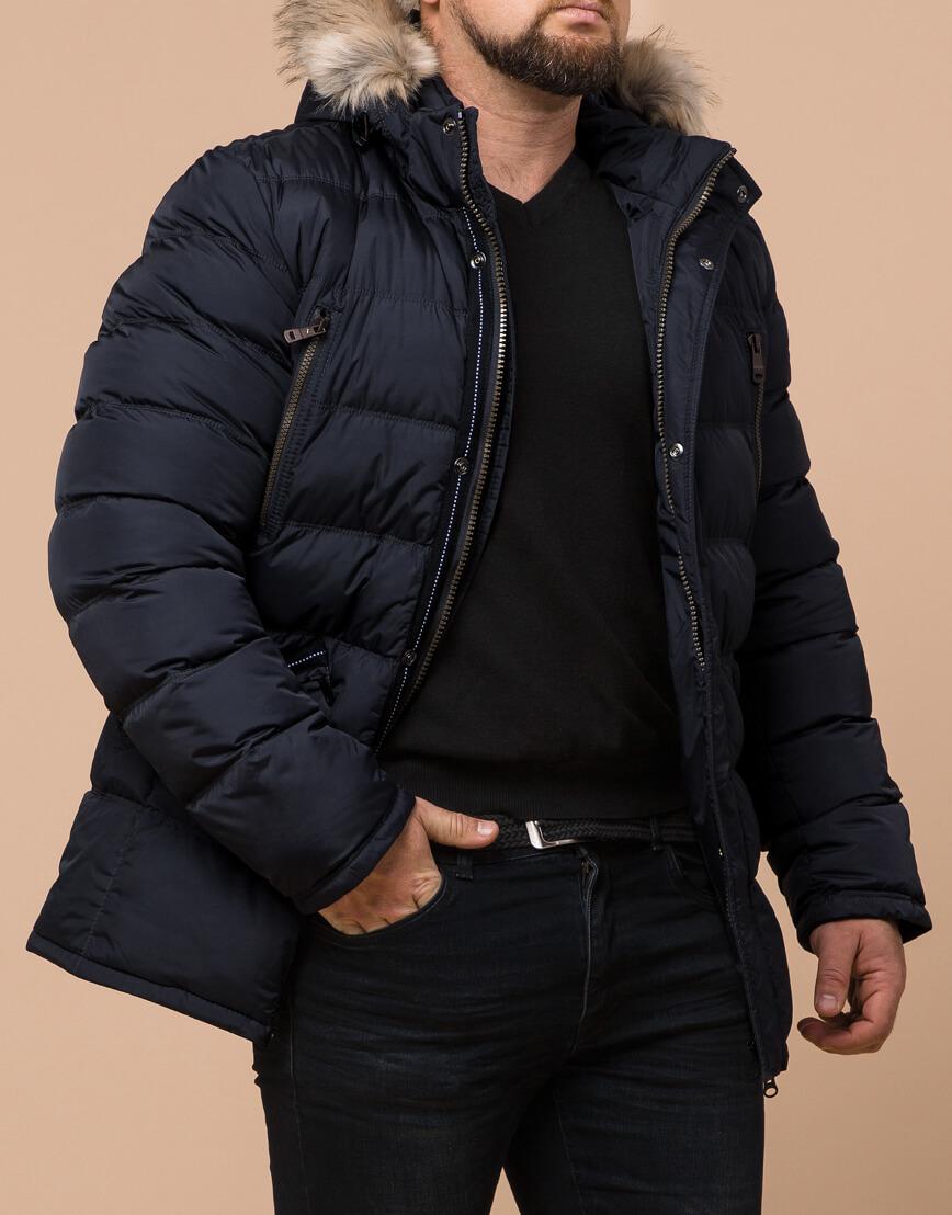 Зимняя мужская темно-синяя куртка большого размера модель 23752 оптом фото 1