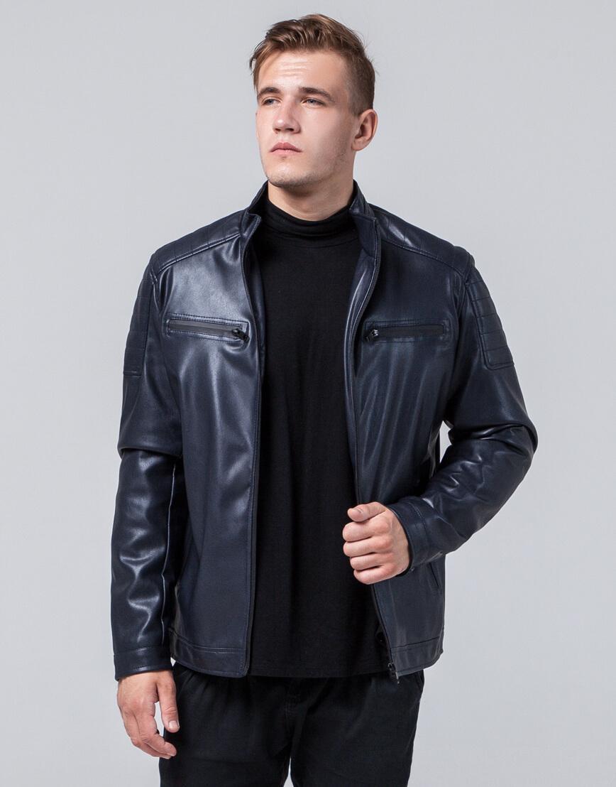 Короткая куртка темно-синяя осенне-весенняя модель 2612 фото 2