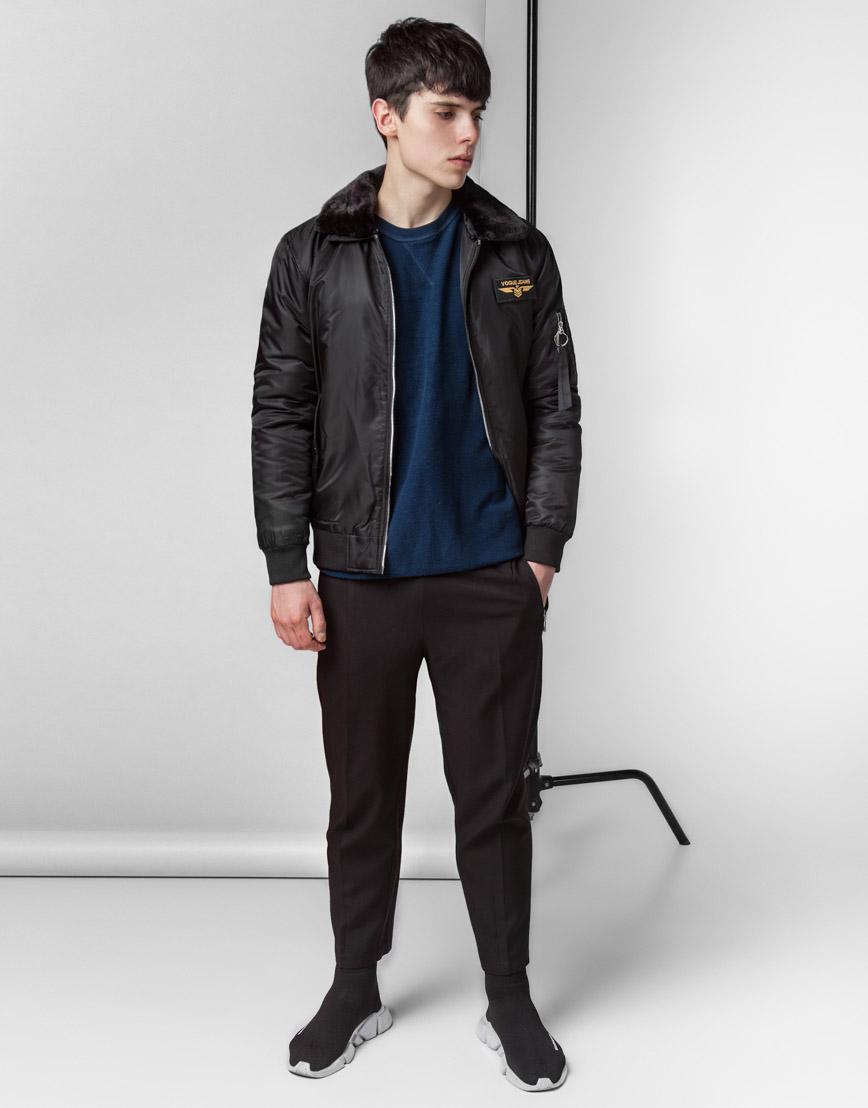 Брендовая куртка бомбер черная модель 52121
