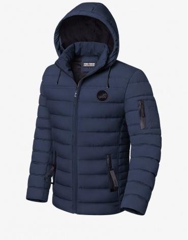 Трендовая зимняя куртка темно-синяя модель 8807