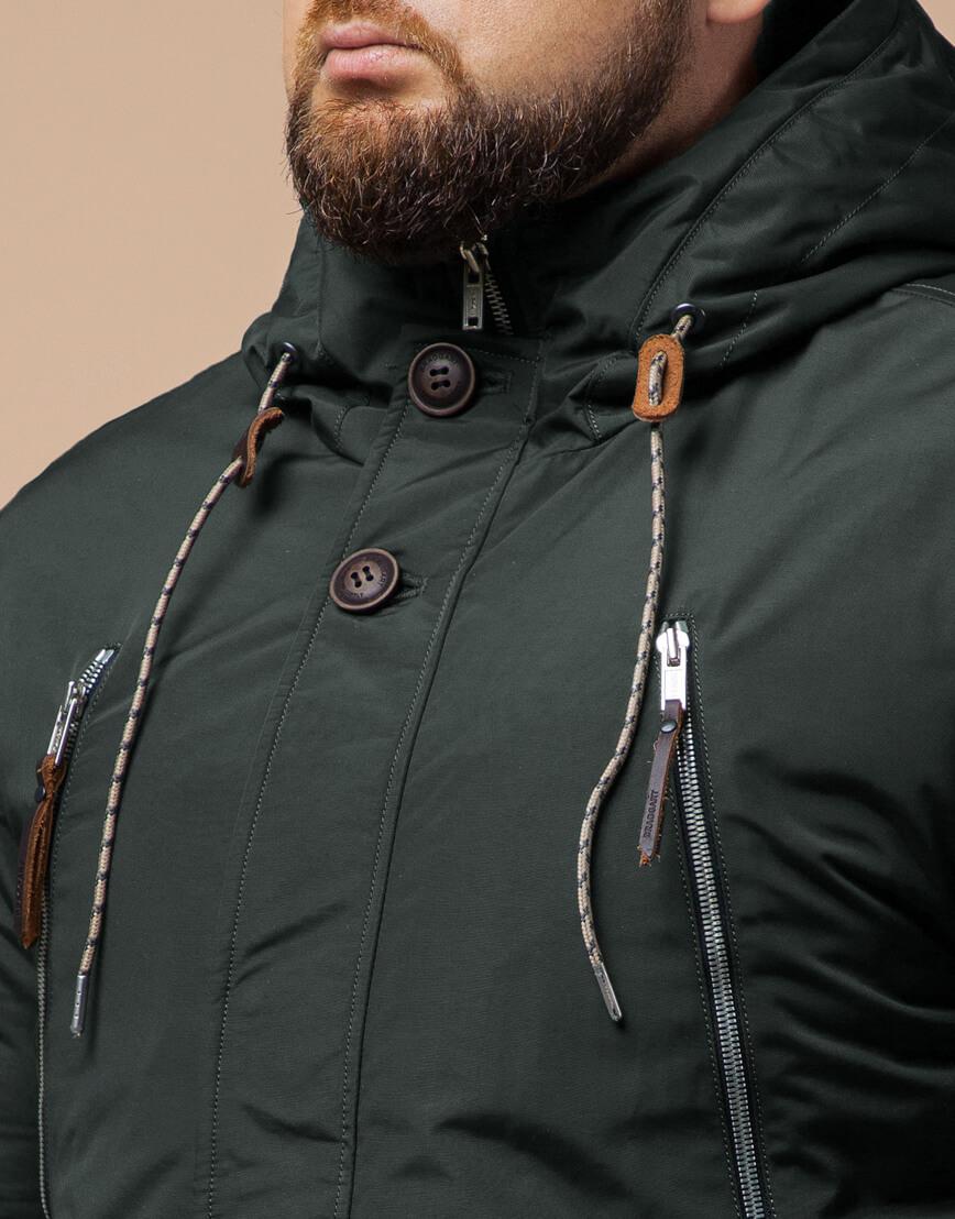 Мужская парка зимняя цвета хаки модель 43015 оптом фото 4