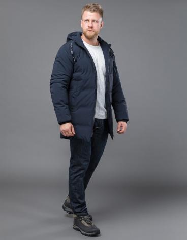 Фабричная куртка зимняя темно-синего цвета модель 70911