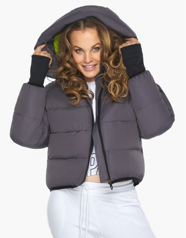 Куртка пуховик Youth молодежный женский графитовый удобный модель 26420 фото 1