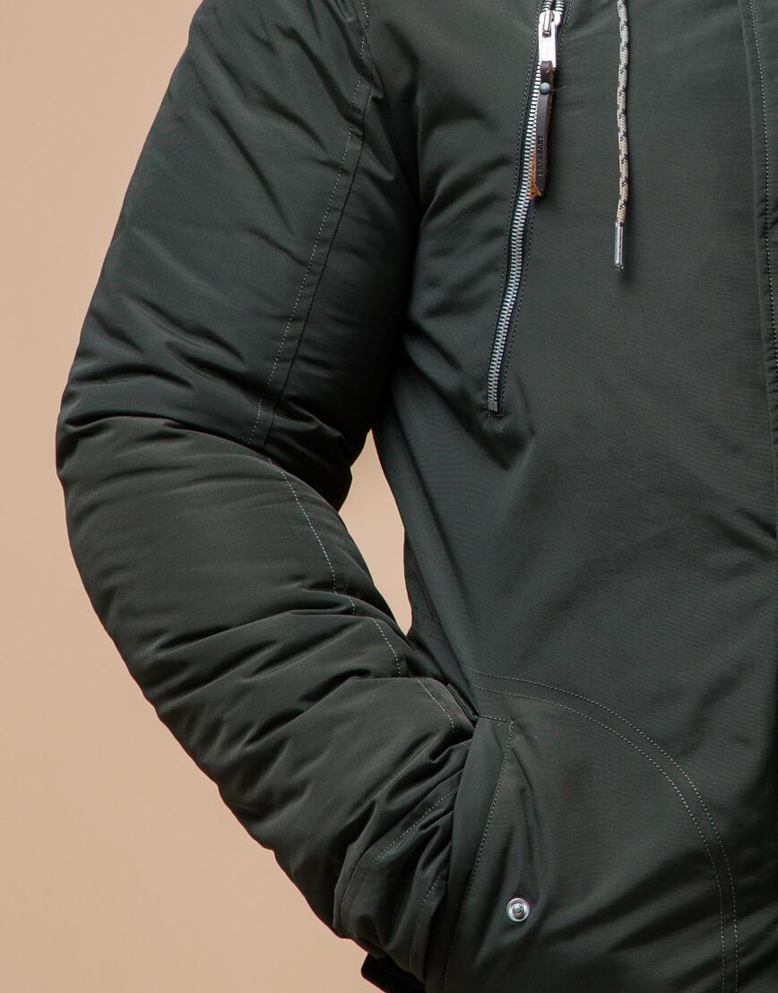 Мужская парка зимняя цвета хаки модель 43015 оптом фото 5