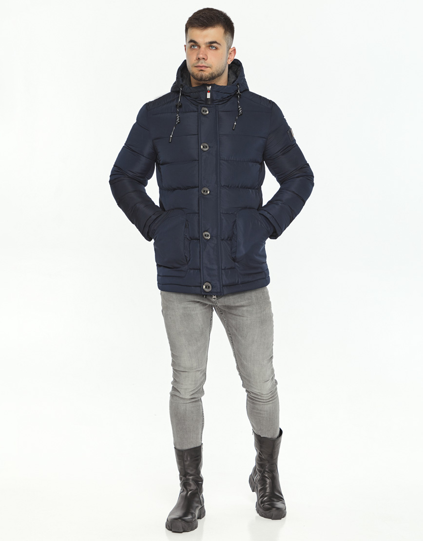 Темно-синяя куртка удобного фасона модель 44516 фото 3