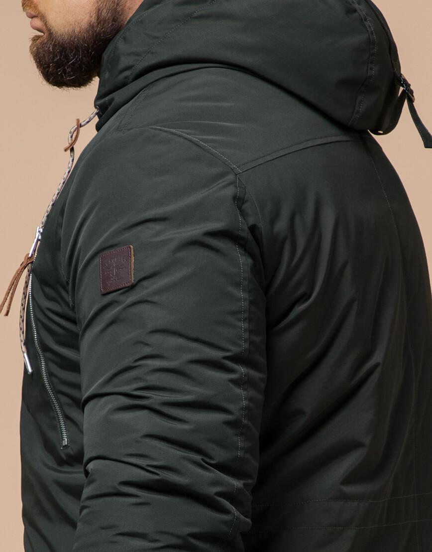 Мужская парка зимняя цвета хаки модель 43015 оптом фото 6