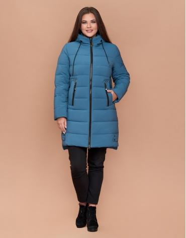 Темно-голубая современная женская куртка большого размера модель 25225