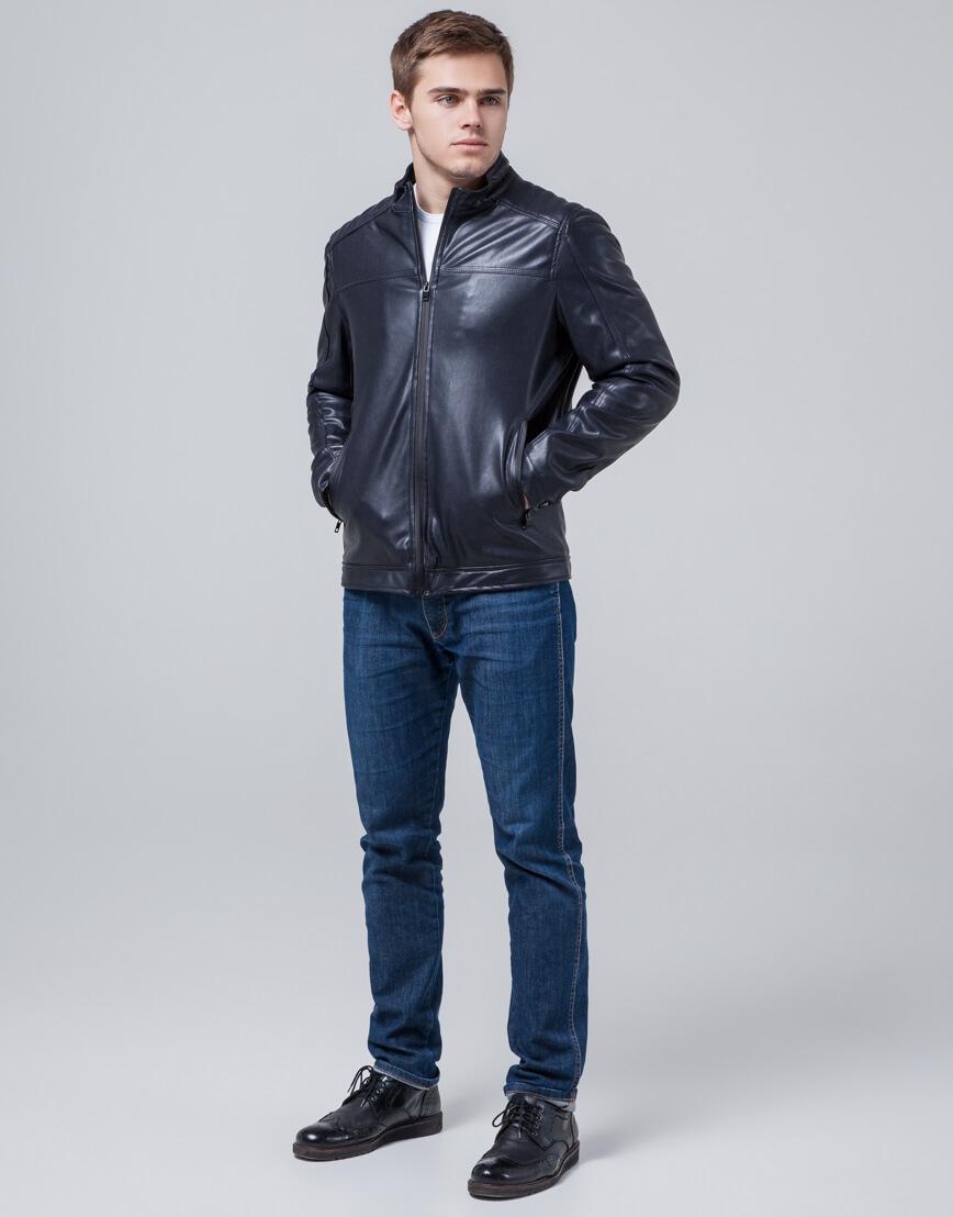 Дизайнерская молодежная куртка темно-синяя модель 4834 фото 3