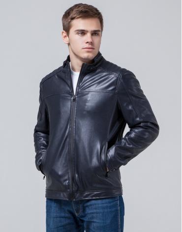 Дизайнерская молодежная куртка темно-синяя модель 4834 фото 1