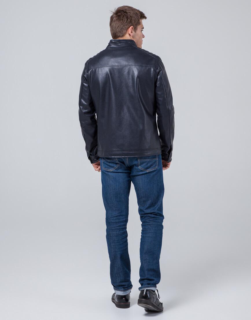 Дизайнерская молодежная куртка темно-синяя модель 4834 фото 4