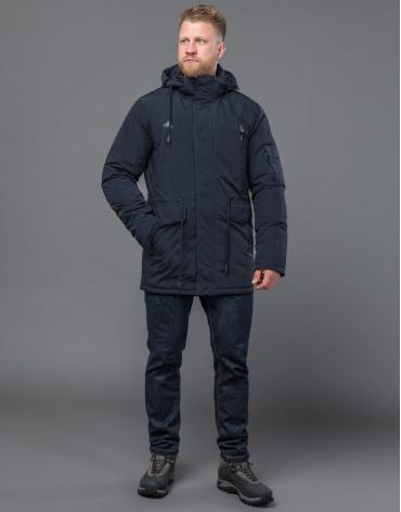 Темно-синяя парка зимняя качественного пошива модель 71360 оптом