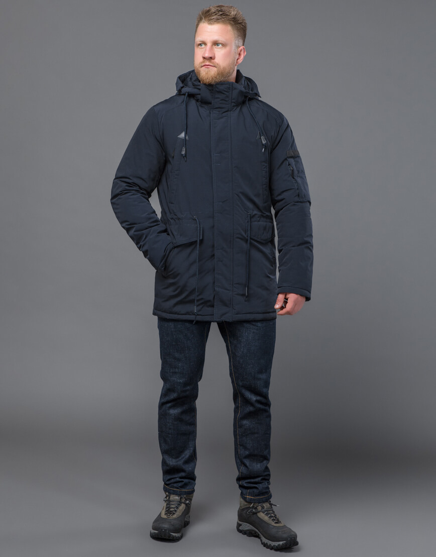 Темно-синяя парка зимняя качественного пошива модель 71360 оптом фото 1