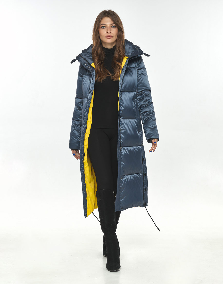 Зимняя куртка синяя женская Ajento стильная 23160 фото 2