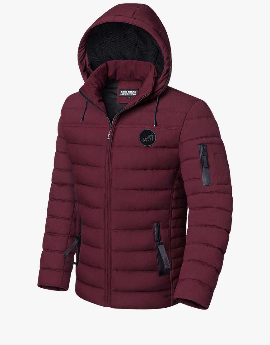 Современная бордовая куртка зимняя модель 8807
