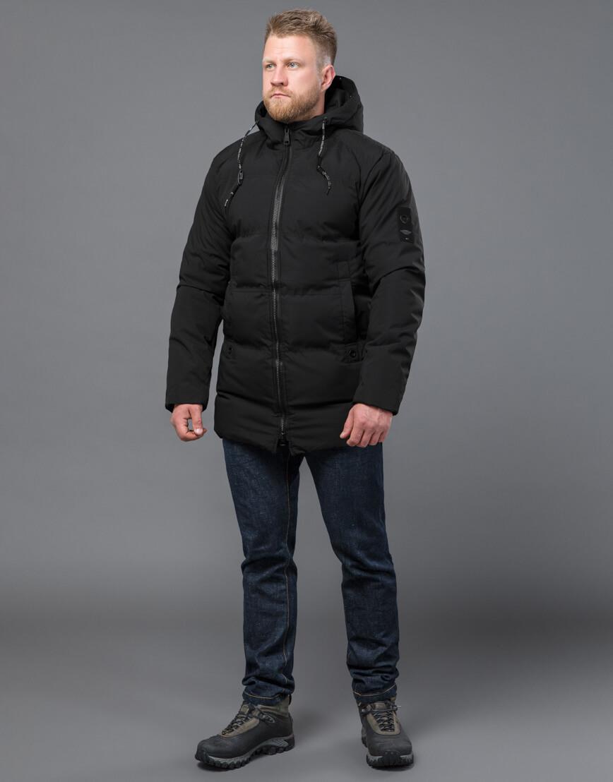 Черная куртка модная зимняя модель 70911 фото 2