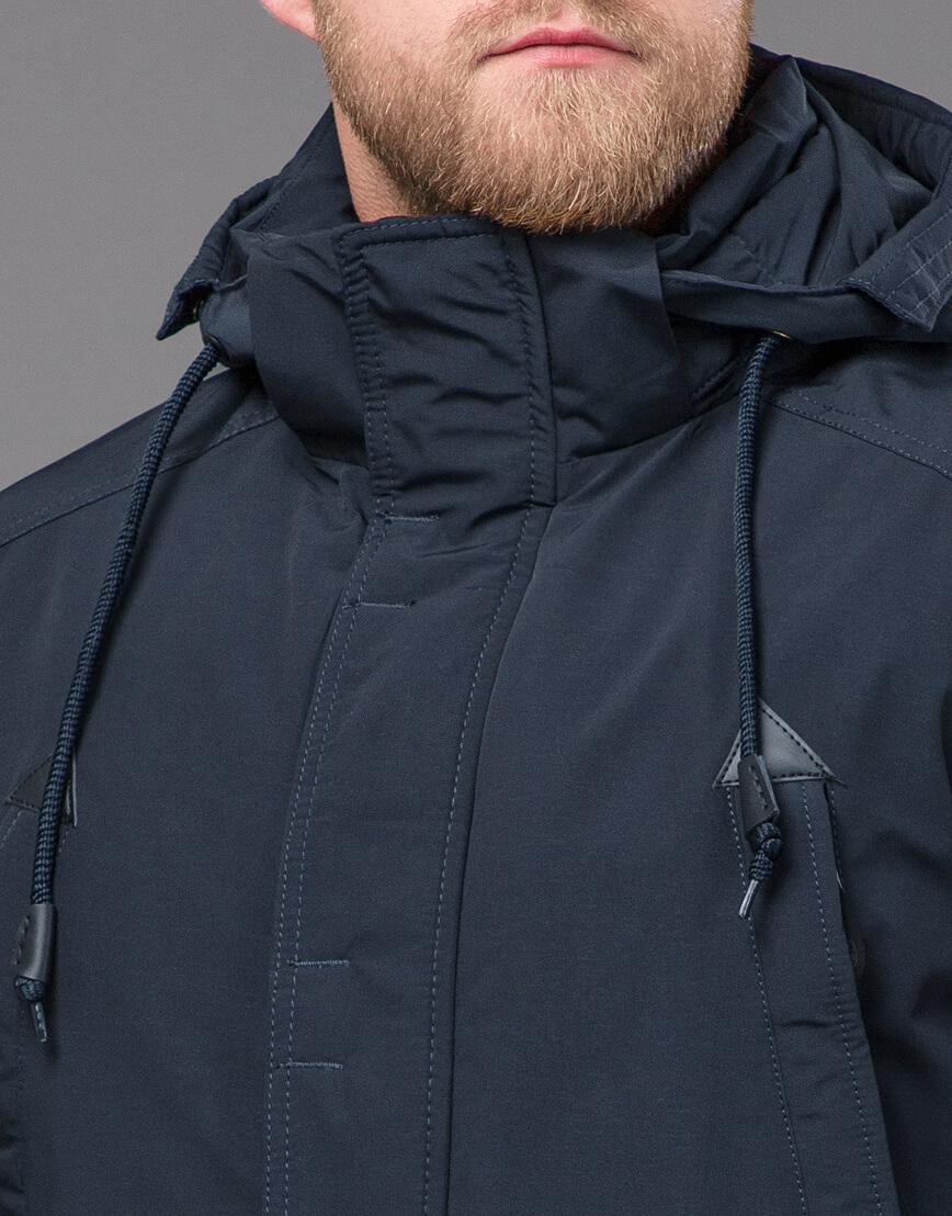 Темно-синяя парка зимняя качественного пошива модель 71360 оптом фото 5
