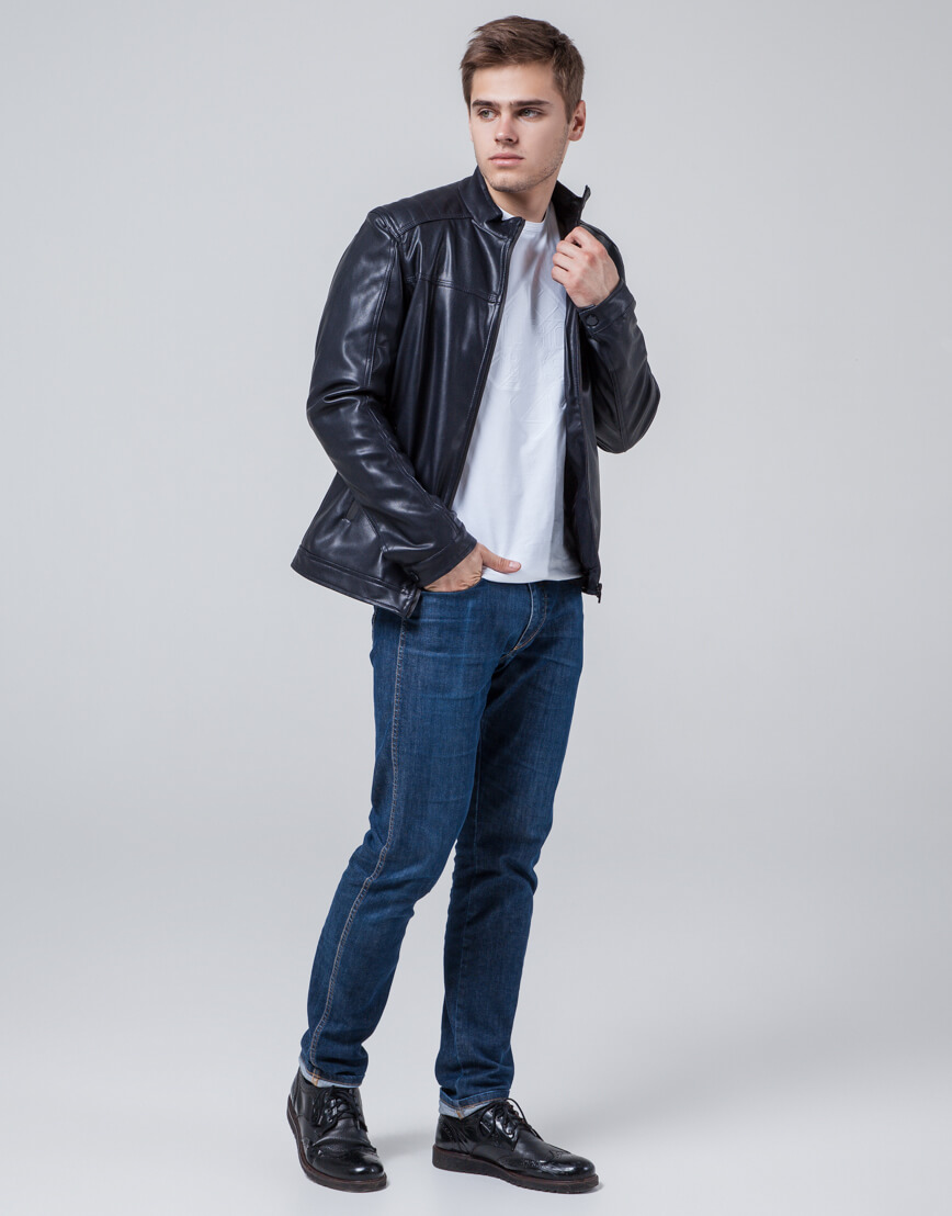 Дизайнерская молодежная куртка темно-синяя модель 4834 фото 2