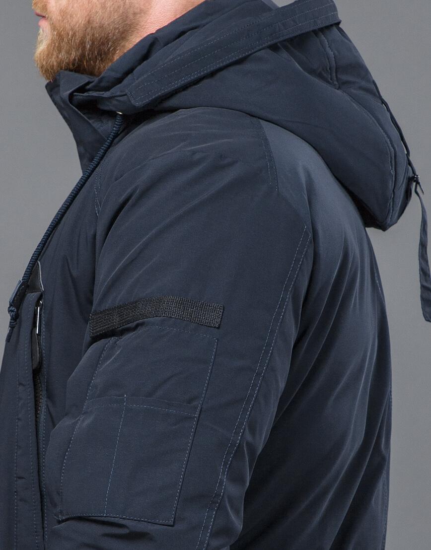 Темно-синяя парка зимняя качественного пошива модель 71360 оптом фото 7