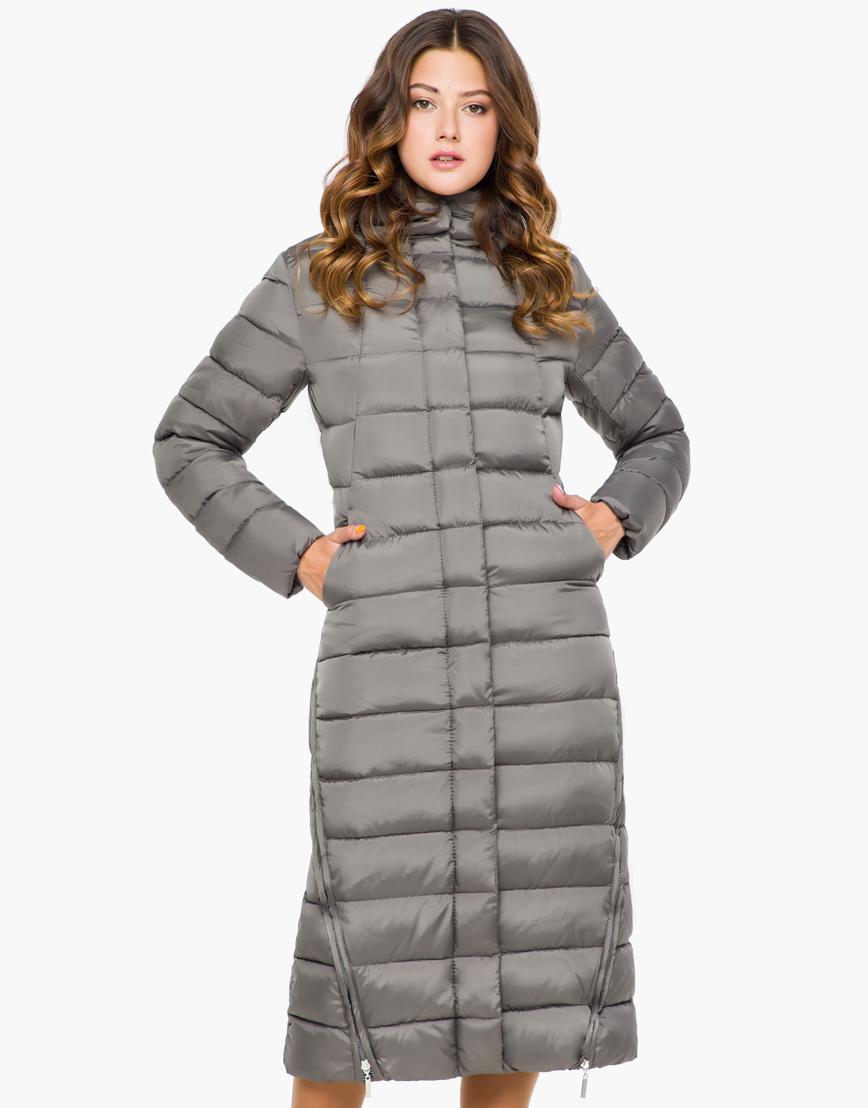 Женская серая качественная куртка модель 7789 фото 3