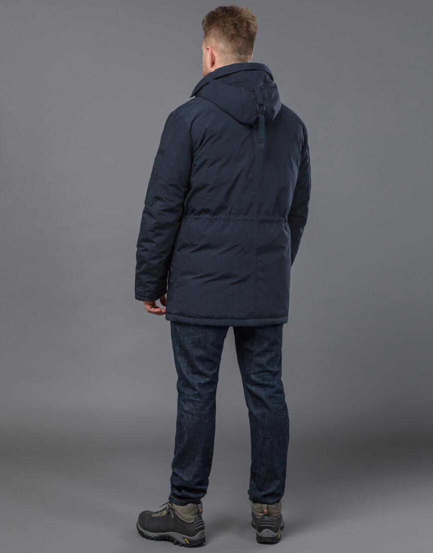 Темно-синяя парка зимняя качественного пошива модель 71360 оптом фото 4