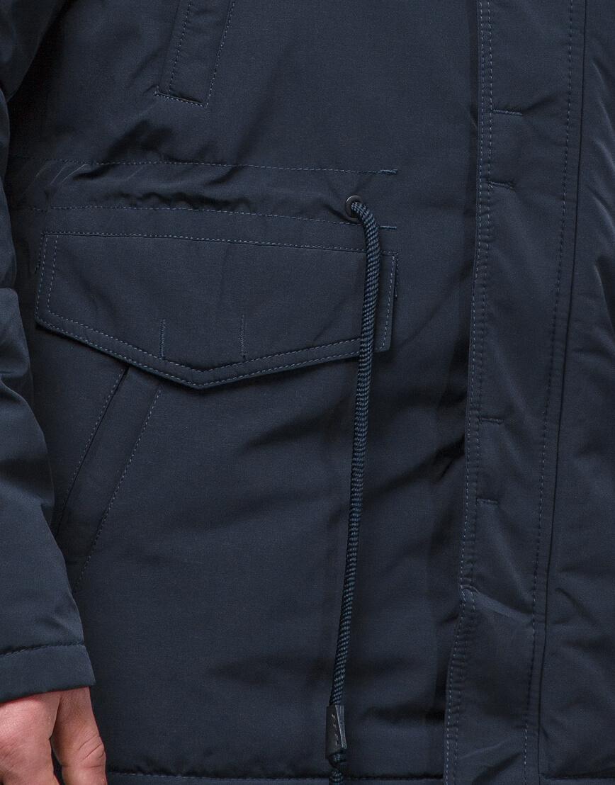 Темно-синяя парка зимняя качественного пошива модель 71360 оптом фото 6