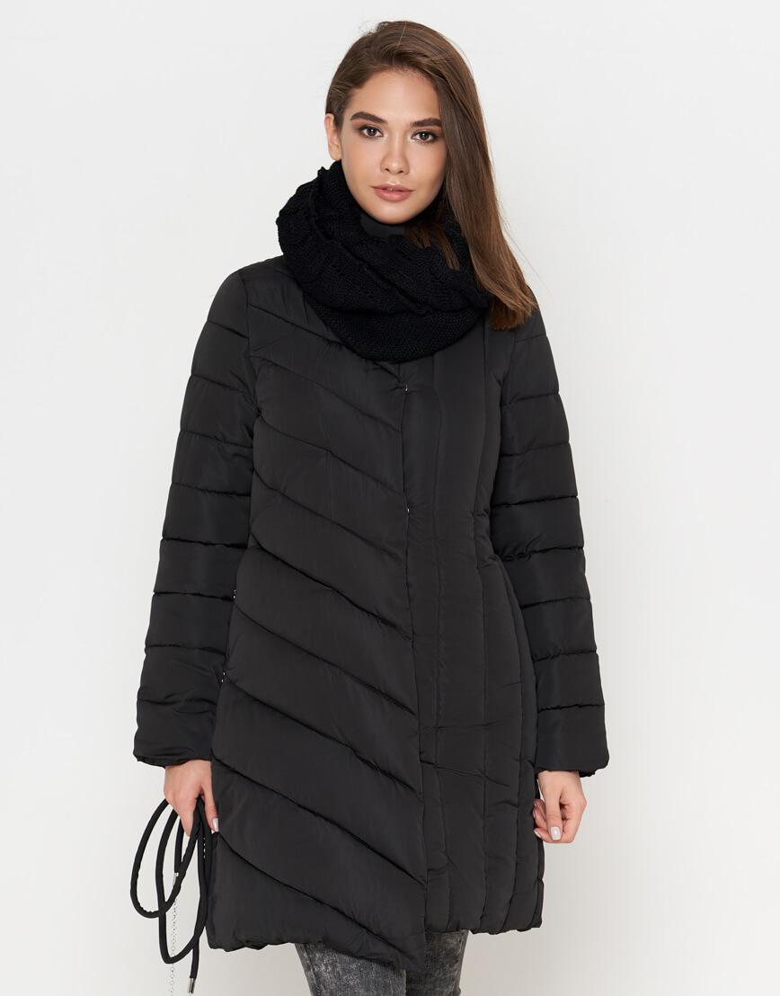 Черная теплая женская куртка модель 9082 фото 2