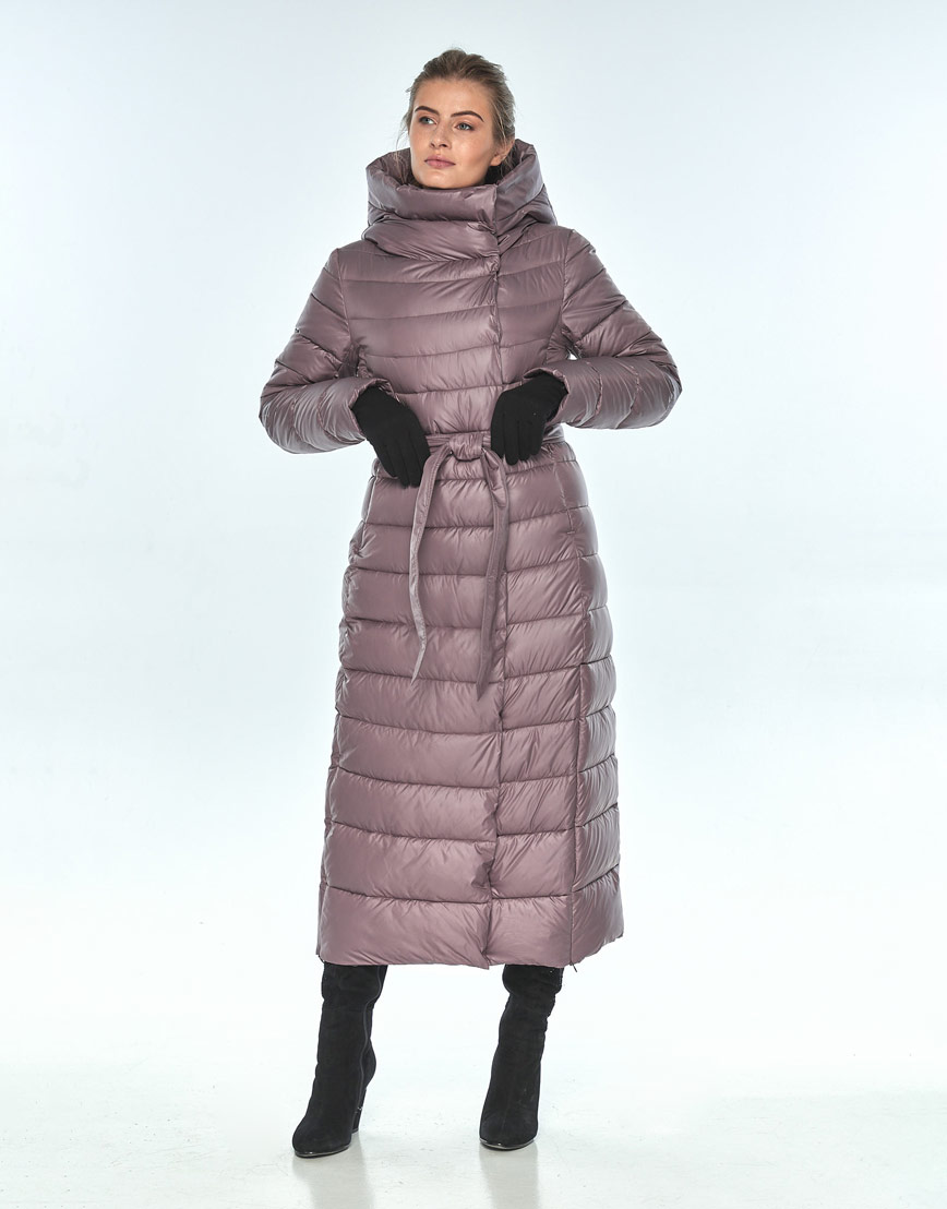 Женская длинная куртка Ajento зимняя пудровая 23320 фото 2