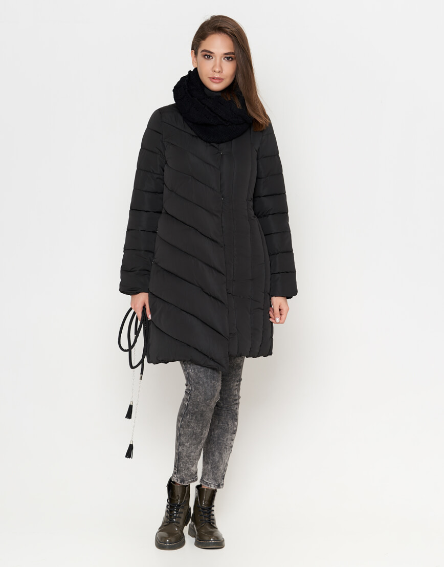 Черная теплая женская куртка модель 9082 фото 3