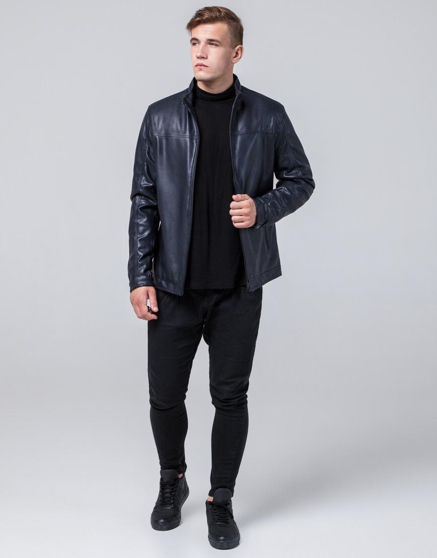 Темно-синяя куртка стильная осенне-весенняя модель 2825 фото 1