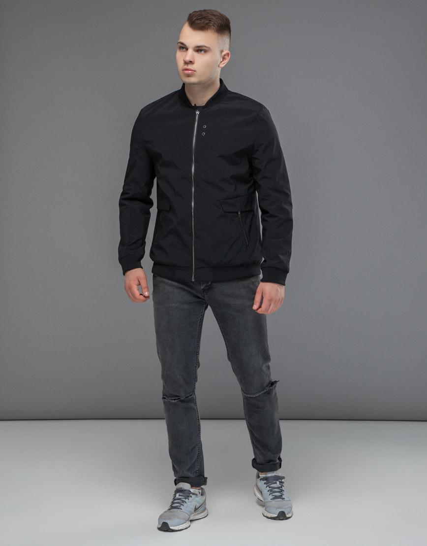 Практичная черная мужская куртка бомбер модель 32488 фото 3
