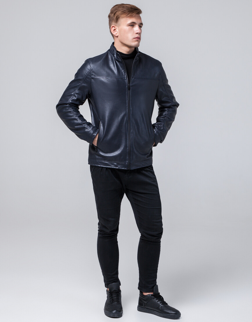Темно-синяя куртка стильная осенне-весенняя модель 2825 фото 2