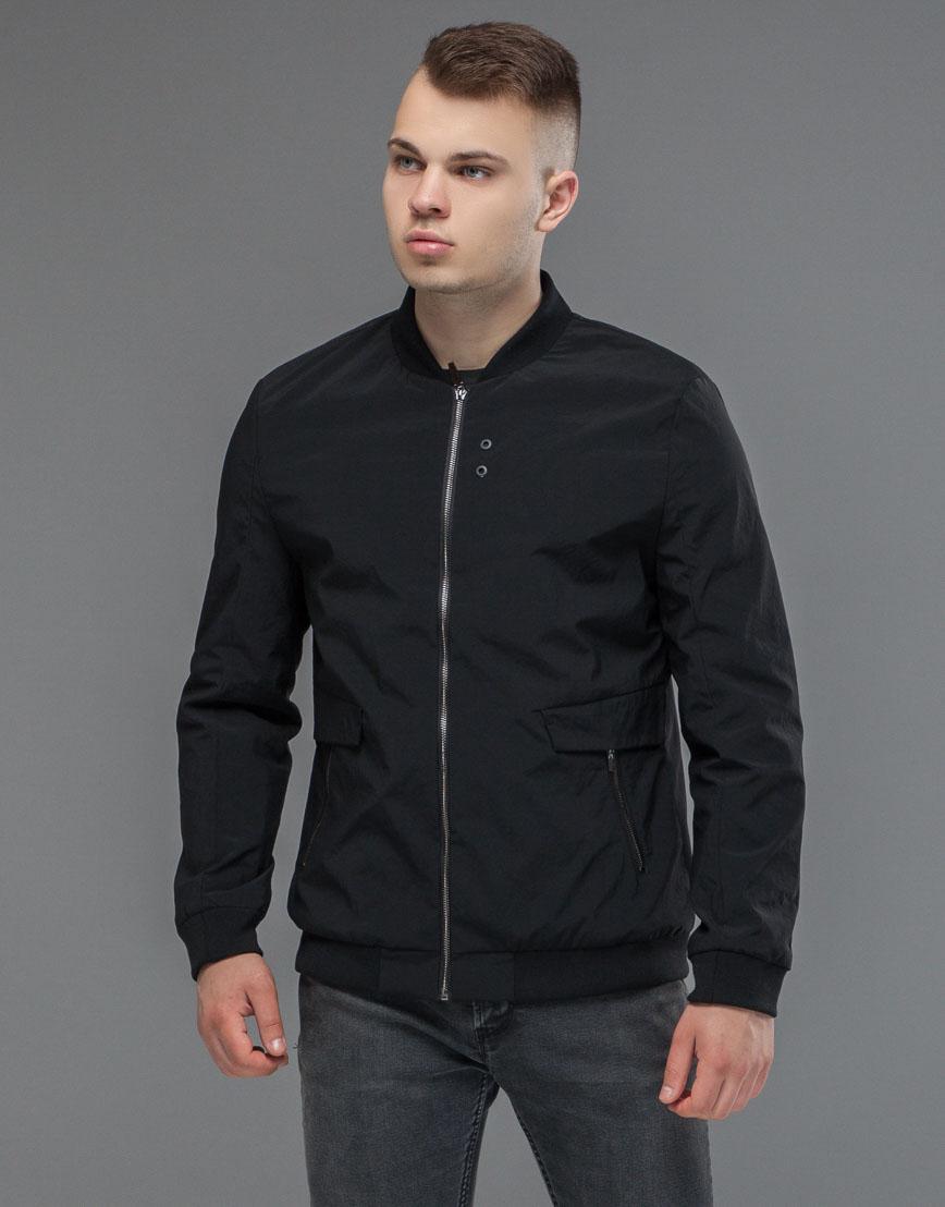 Практичная черная мужская куртка бомбер модель 32488 фото 2
