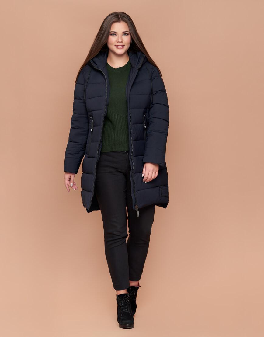 Теплая темно-синяя высококачественная куртка женская модель 25225