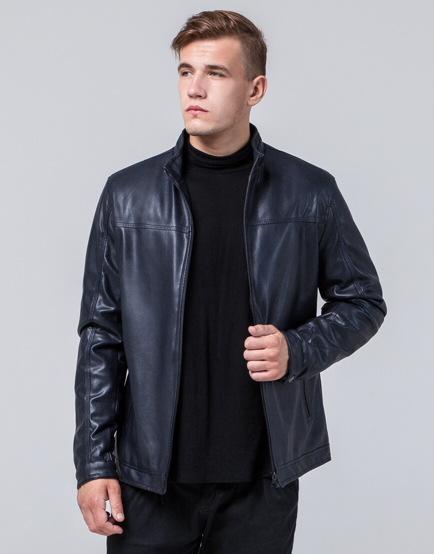 Темно-синяя куртка стильная осенне-весенняя модель 2825 фото 3